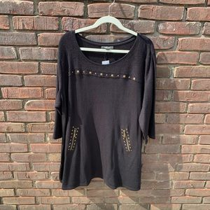 Style&co. Black Blouse with Gold Studs